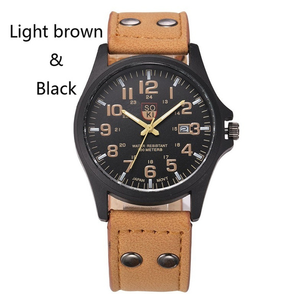 Men's Fashion Sport Watches Men Military Leather Band Quartz Wrist Watch 1PC