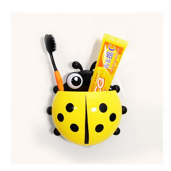 Lovely Ladybug Toothbrush Wall Suction Bathroom Sets Cartoon Sucker Toothbrush Holder