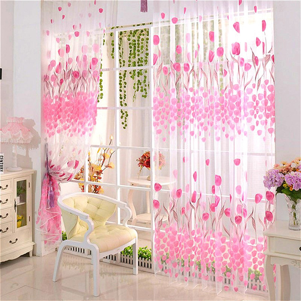 Wish | Tulip Print Voile Blackout Curtains For Living Room Window ...
