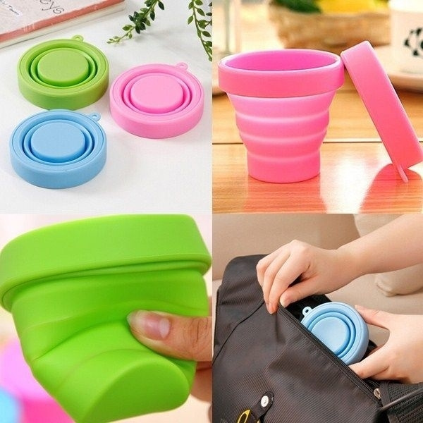 Portable Silicone Telescopic Drinking Collapsible Folding Cup Travel Camping wo0