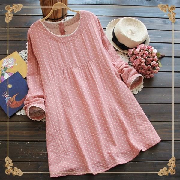 Plus Size, Cotton, Lace, Spring