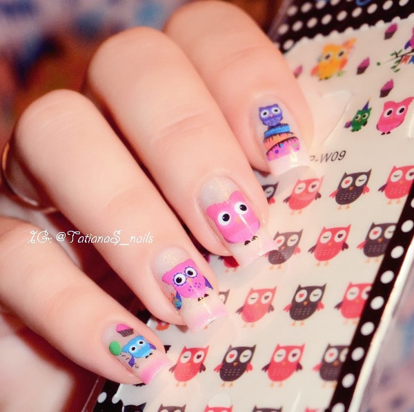 3 Sheets Cartoon Owl Nail Art Water Decals Cute Animal Transfer Stickers (Color: Multicolor)
