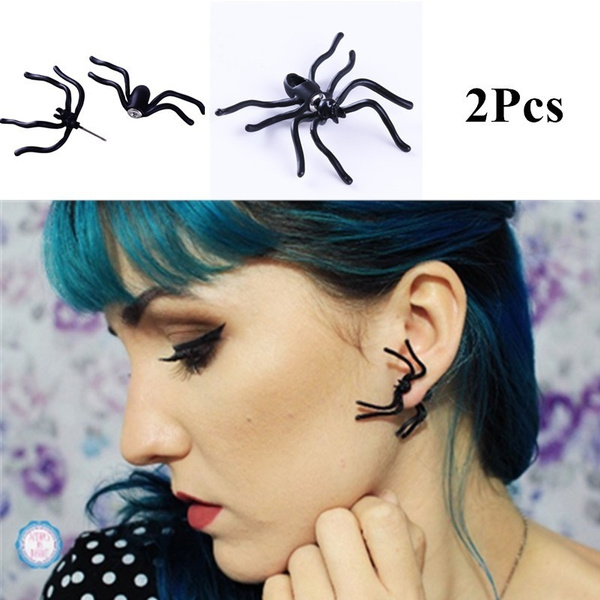 Picture of 1pair 3d Ear Stud Spider Shaped Ear Ring Creepy Earring