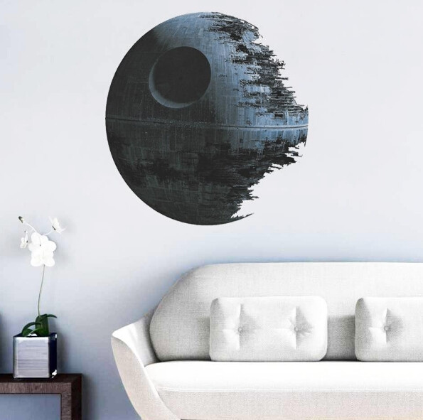 Star Wars Kids Ultimately Weapon Death Star Wall Stickers Movie Fans Home Decor Wall Decal Mural Art Cartoon Decor Wall Sticker (Color: Grey)