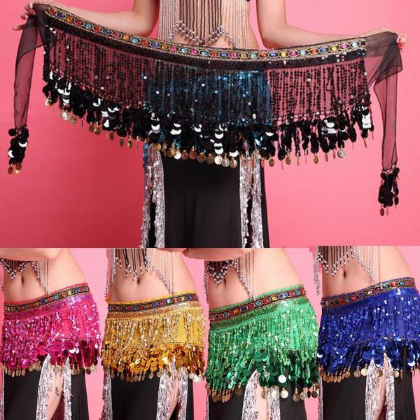 Belly Dance Belt Hip Scarf Skirt Costume Wrap Gold Coins Band Gemstone Velvet