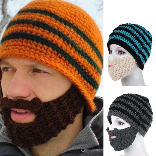 Unisex Man Women Winter Face Mask Crochet Knit Beard Beanie Ski Warm