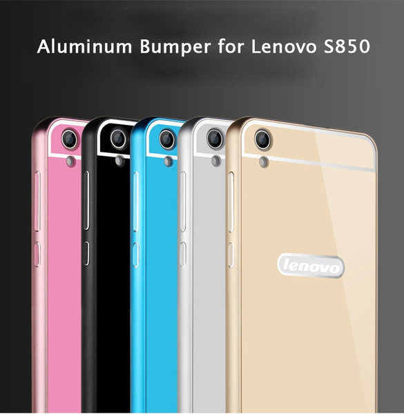 new arrival de7d6 a13c8 Funda For Lenovo S850 3G Metal Case Acrylic Back Cover & Aluminum Frame  Bumper Set Phone Bag Cases for S850