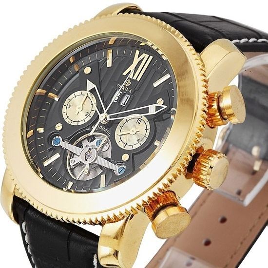 Wish Orkina Golduhr Black Men Fliegende Tourbillon Uhren