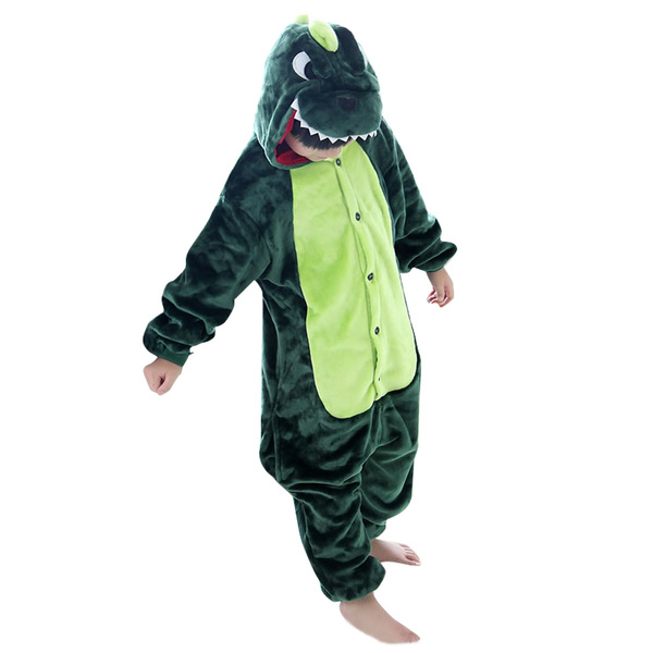 b9ac77128587d Unisexe Enfant Pyjamas Grenouillère Cosplay costume Onesie en Flanelle  Fille Garçon - Dinosaur - Taille 85(3-4ans) - Vert