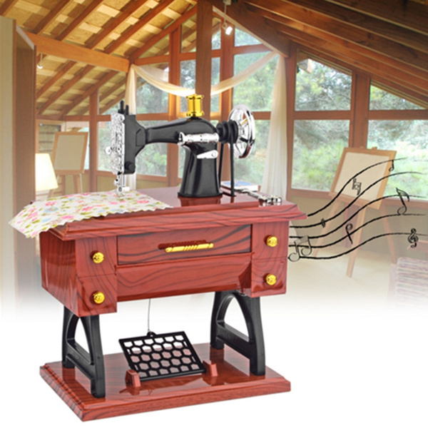 Picture of Mini Antique Look Sewing Machine Mechanical Music Box Jewelry Box Yi6 Color Brown