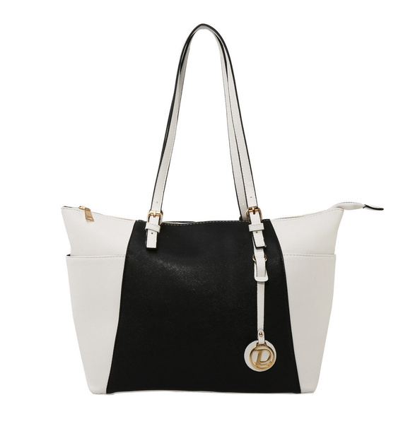 Picture of White And Black Color Block New Women Handbag Shoulder Bags Tote Purse Leather Fashion Womens Bag