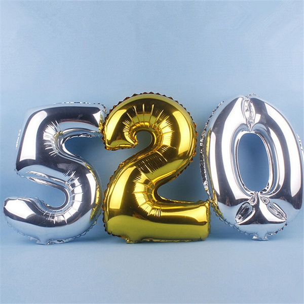 Picture of 1pc Large 40inch Gold Silver Number 0-9 Balloon Aluminum Foil Helium Balloons Birthday Wedding Party Decoration Celebration Supplies