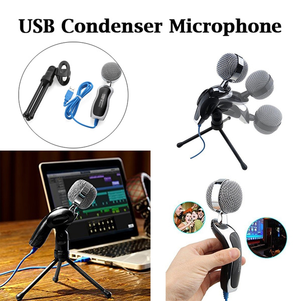 Picture of Sf-922b Usb Condenser Microphone Mic Studio Audio Sound Recording Microphones With Stand For Vocal / Dj / Singer / Karaoke Size 158mm By 54mm By 50mm Color Black