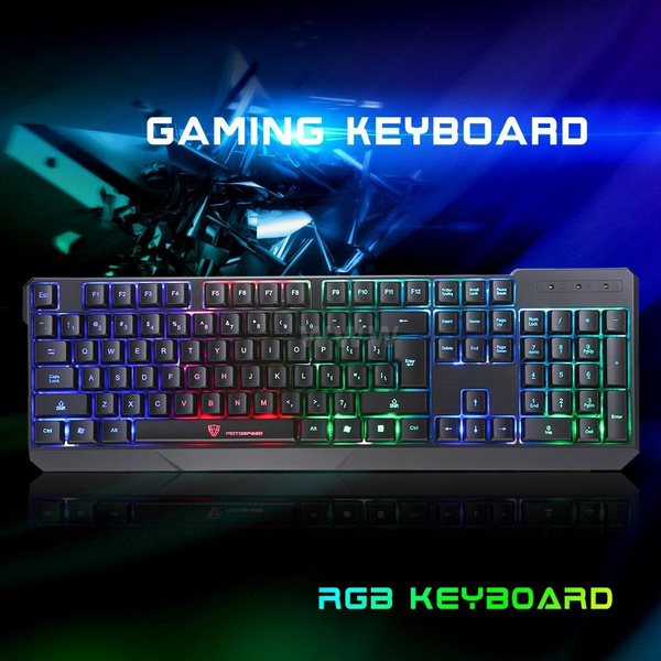 Picture of Motospeed K70 7-color Backlight Gaming Keyboard Usb Powered Keyboards For Desktop/ Laptop Size 441mm By 146mm By 22m Color Black