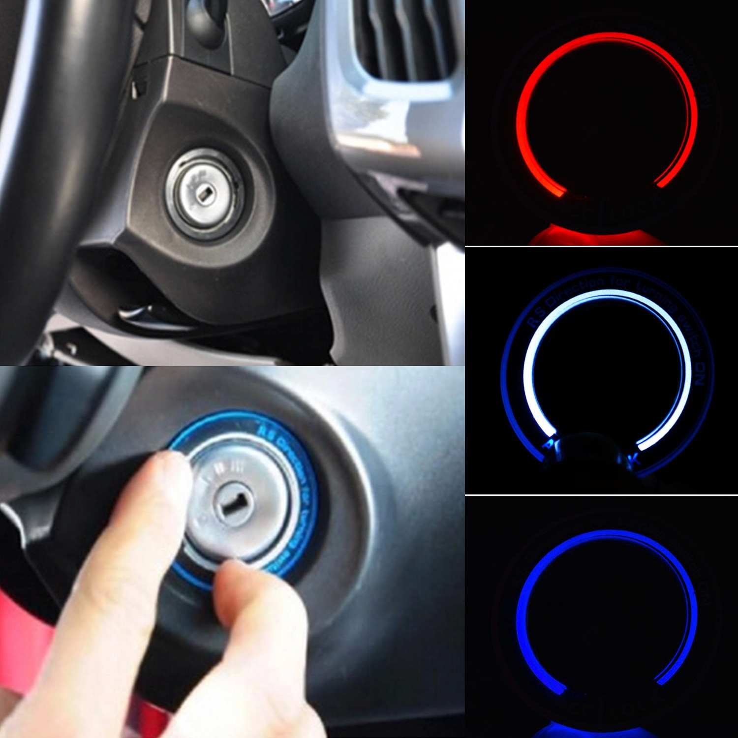 Car Light Decoration Acediscoball Car Light Led Lgnition Switch Cover Ring Key Ring