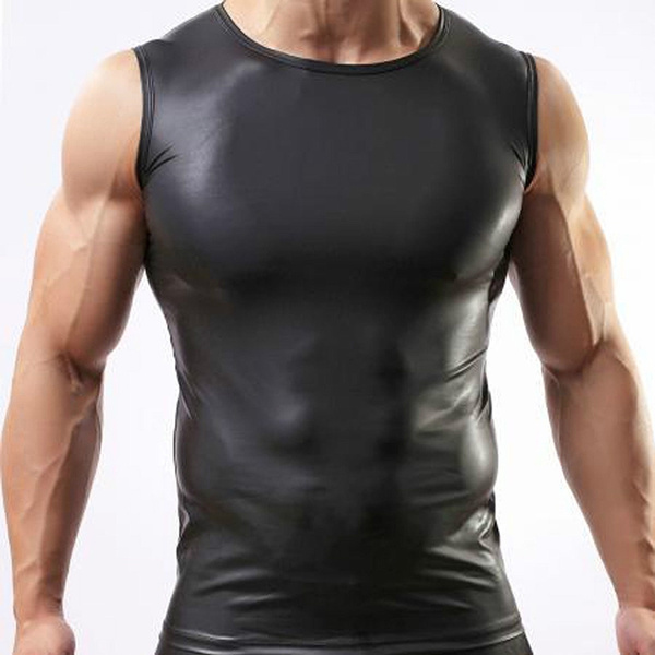 a28b89016 Black Mens T-shirt Sleeveless Leather Look Tight Muscle Fetish ...
