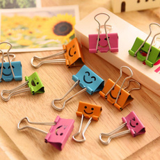 10 pcs Random Colored Smile Metal Binder Clips For Notes Letter Paper Books Home Office School File Paper Organizer Folder Clip Clamp