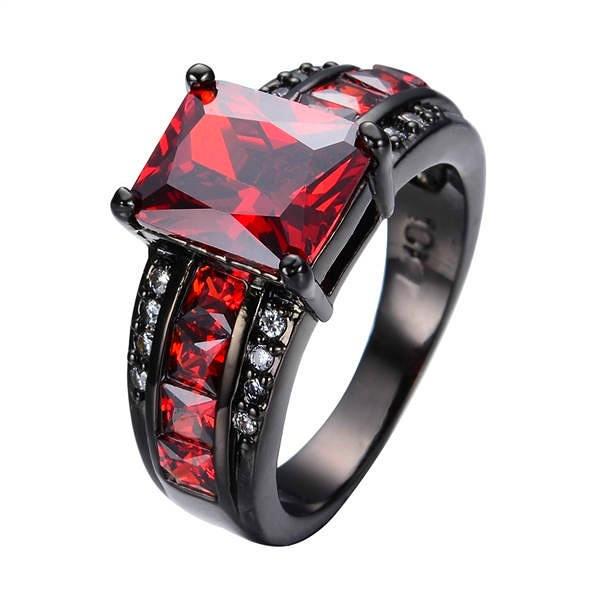 Size 8 Red Ruby Garnet Wedding Ring 10KT white Gold Filled Engagement