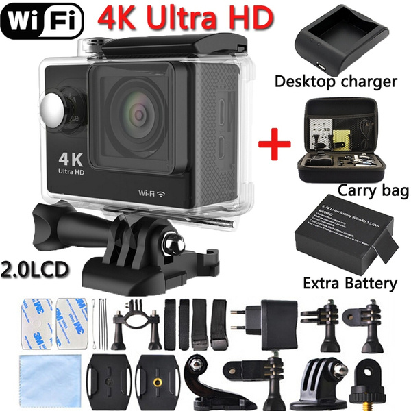 Picture of 2x Battery+desktop Charger+bag H9 30m Waterproof Wi-fi Ultra Full Hd H264 4k 10fps Dv Action Sports Video Camera Camcorder 1080p/60fps 12mp Black