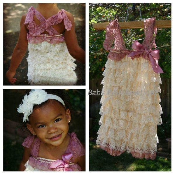 87ec77ad69b48 Girl's Lace Romper, baby girls romper,ivory dust pink ruffle romper photo  prop baby petti romper vintage pink Newborn outfit- Baby Girl Toddler 1st  ...