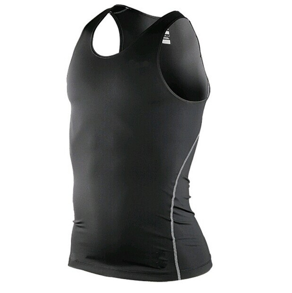 Men Body Armour Compression Under Skin Base Layer Sleeveless Vest Tank Gym Shirt