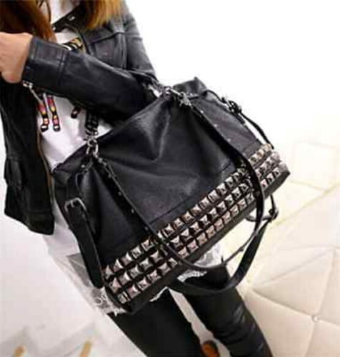 Picture of Women Leather Stud Rivet Tote Shopping Handbag