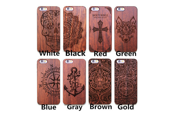High Quality Carving Pattern Wood Phone Cover Case for Phone 5 5S SE/6 6S/6 Plus 6S Plus 7/Samsung Galaxy S7 S7 Edge S8 S8 Plus