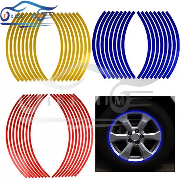 Fashion Strips Wheel Sticker Reflective Rim Stripe Tape Bike Motorcycle Blue