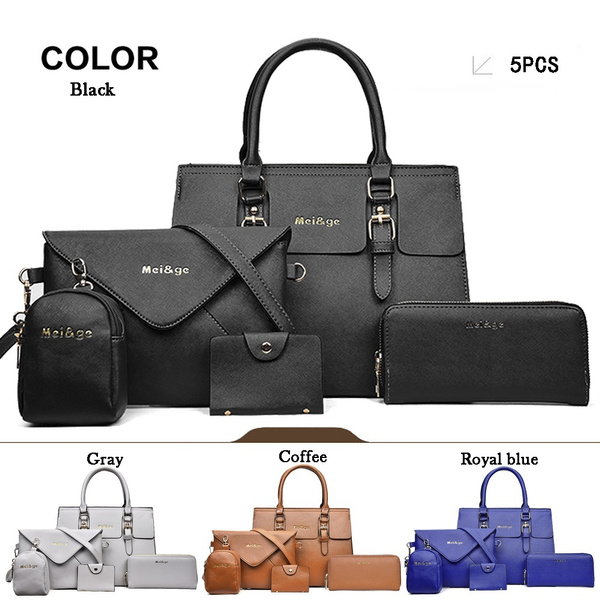 30680e743ff6 2018 Women Fashion 6Pcs/5Pcs Handbag Set PU Leather Shoulder Bag Crossbody  Bag Purse set( 2size,19Colors)