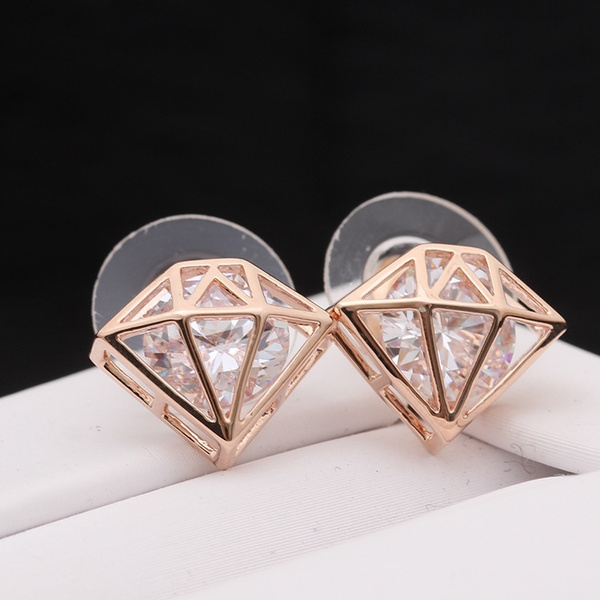 Picture of Gold Silver Rose Gold Lovely Imitation Diamond Shape Earrings
