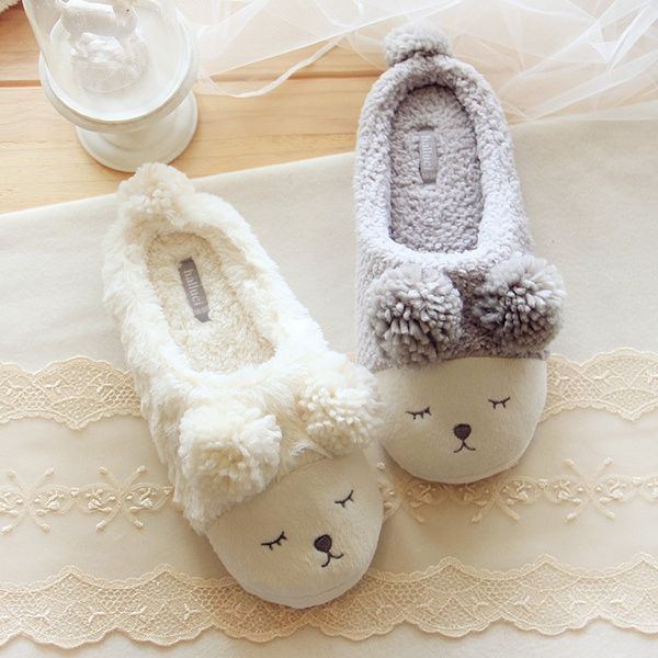 Picture of Home Furnishing Meng Squinting Indoor Slippers Ball Ball Lamb Couple Slippers
