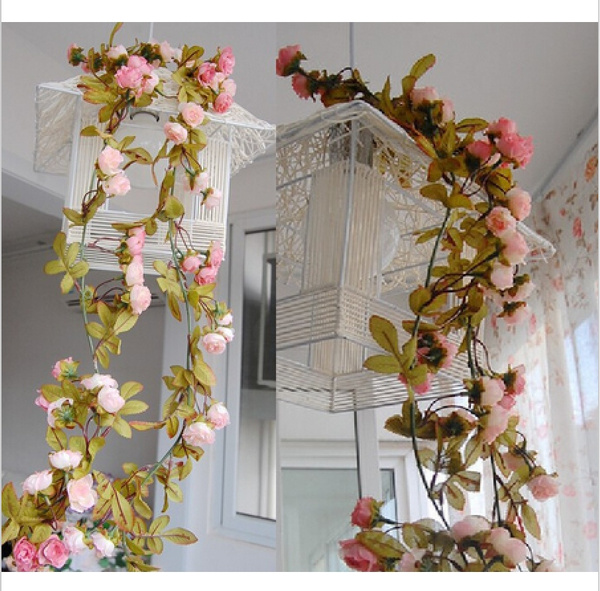 Picture of Wedding Decoration New 2015 Artificial Fake Silk Rose Flower Vine Hanging Garland Wedding Home Decor For Xmas