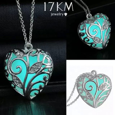 Unisex Silver Love Cute Heart Stone Glow Necklace Pendant Luminous Pattern Plant Plated Women Men Unique Personality Jewelry Accessories