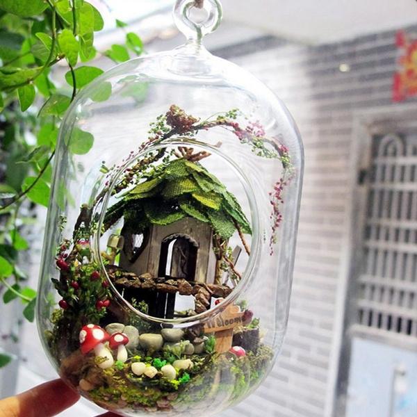 3D DIY Miniature Glass Dollhouse Ball Doll House LED Sound Control Light Gift