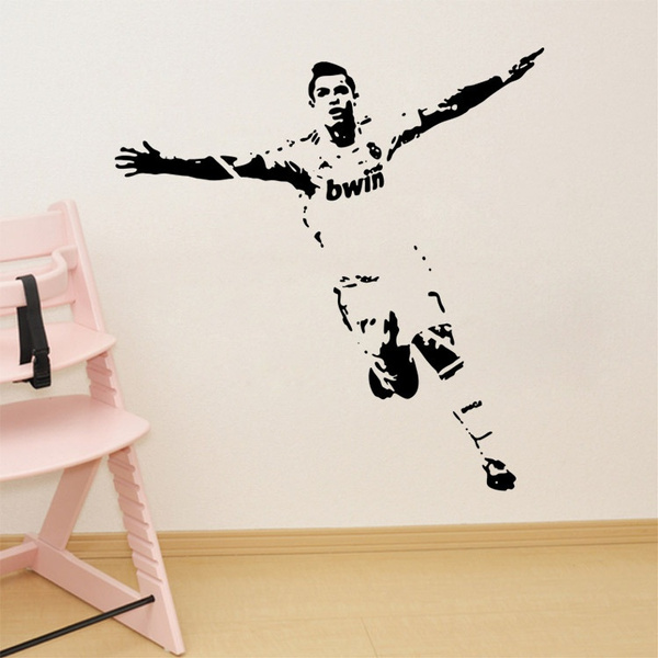 Soccer Wall Sticker Football Player Decal Sports Decoration Mural for Boys  Kids Room Decor