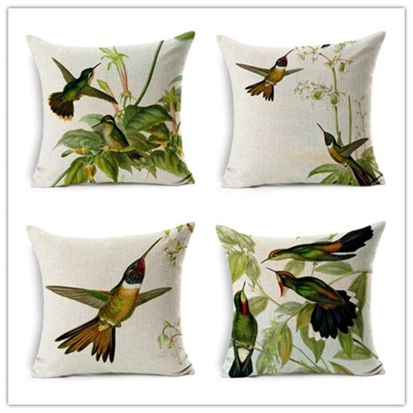 Cojines Animal Print.Fashion Animal Style Home Decor Cushion Pillows Hummingbird Printed Decorative Throw Pillows Fashion Almofadas Cushions Cojines
