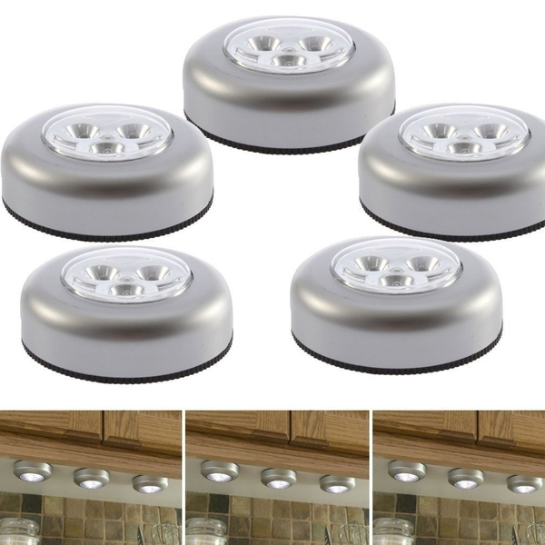 Picture of Led Battery Powered Stick Tap-on Touch Lamp Light For Closets /Storage Rooms/attics/sheds/ Car Pack Of 5 Color Silver