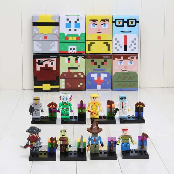 8pcs Terraria Block Queen Bee Eye of Cthulhu Skeletron Thing Building  Bricks Blocks DIY Toy set 34003