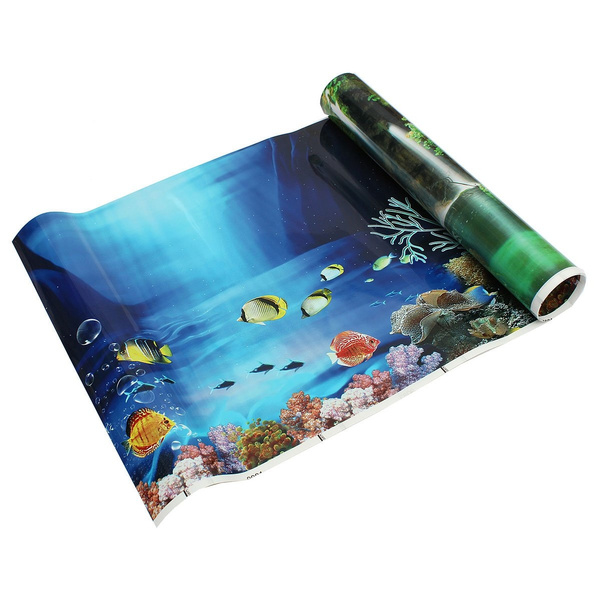 Picture of Blue Fresh Sea Background Aquarium Ocean Landscape Poster Fish Tank Background Color Multicolor