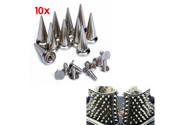 10 Sets Cone Screwback Spikes Studs 25mm Silver / Iron with Nickel Plating, Can Bring You A Lot of DIY Pleasure