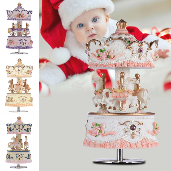 Picture of Laxury Windup 3-horse Carousel Music Box Artware/gift Melody Castle In The Sky Shade For Kid