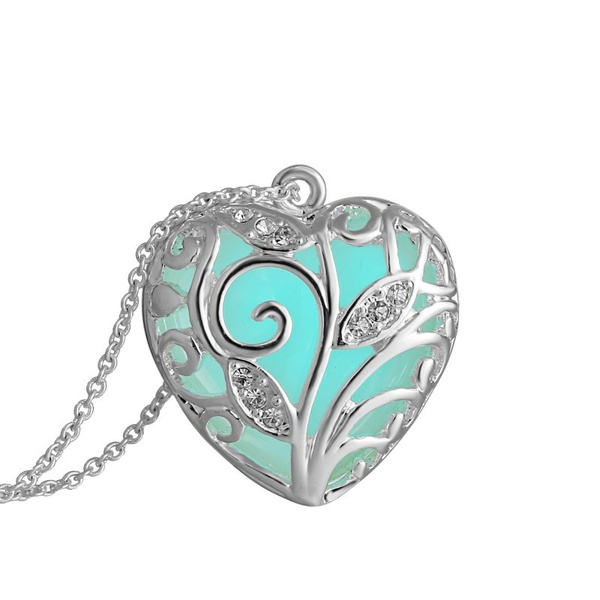 Glow In Dark Hollow Heart Shaped Blue Light Pendant Necklace