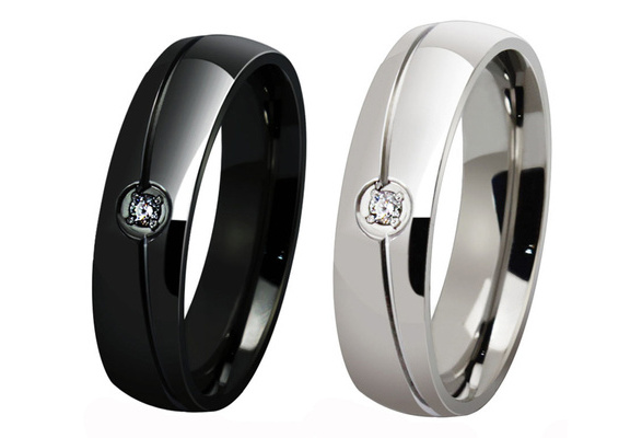 New Silver Plated Mens Womens Rings Wedding Titanium Steel Rings for Lover