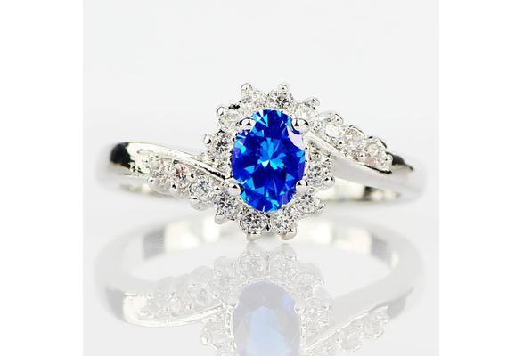 Exquisite 925 Sterling Silver Natural Sapphire Gemstones Opal Birthstone Bride Princess Wedding Engagement Strange Ring Size 6 7 8 9 10