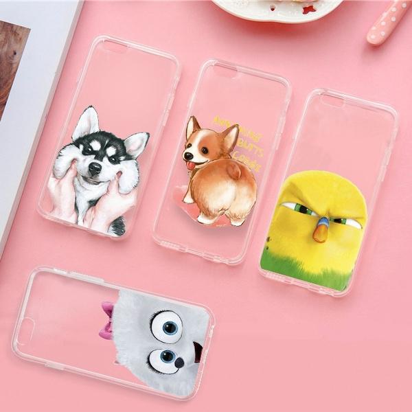 Picture of Cute Cartoon Dog Practical Jokes Phone Case For Iphone 5 5c 6 6s 6 Plus 7 7plus Samsung Galaxy S5 S6 S6 Edge S7 Edge S8 Plus Note 5 4 A7 A8 Htc M9 M8 Huawei Etc