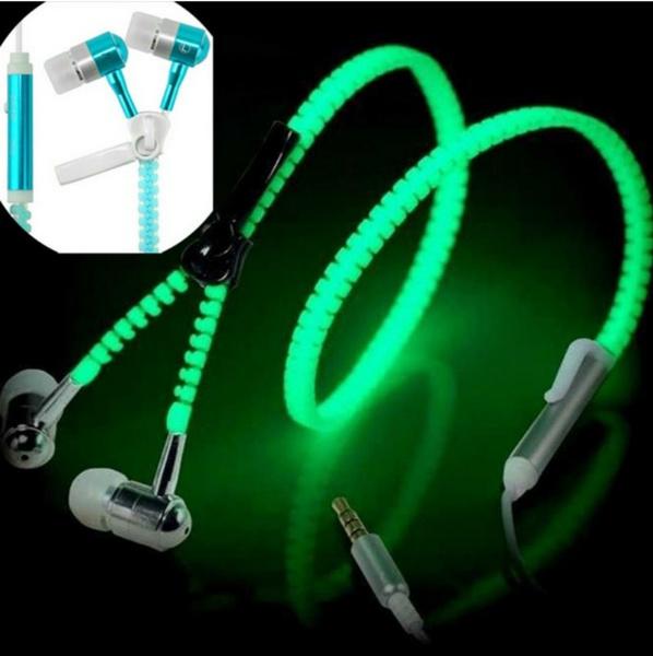 Picture of 3.5 Mm In-ear Luminous Zipper Stereo Hands-free Headphone Earphone Earbud + Mic