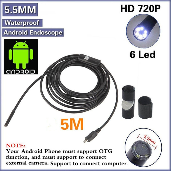 Wish | 5M 16FT 5 5mm 6 LED 720P HD Android USB Endoscope IP67 Waterproof  Inspection With CD Driver Borescope Vedio Camera
