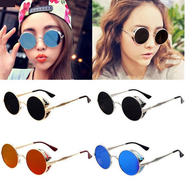 Flip up circle Steampunk Glasses Goggles sunglasses Emo Retro cyber punk UV400