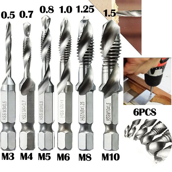 "6pc HSS 1//4/"" Drill Tap Countersink Deburr Set Metric Combination Drill Tap Bit"
