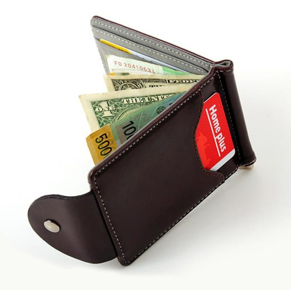 Picture of Ulamore Ultra-thin Leather Money Clip Slim Wallets Id Credit Card Holder Purse